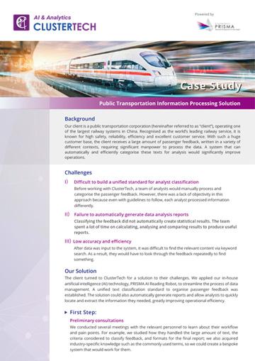 PRISMA Case Study - Transportation   ClusterTech Limited