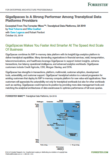 GigaSpaces InsightEdge Positioned as a Strong Performer in the Forrester Wave™: Translytical Data Platforms, Q4 2019(英文)